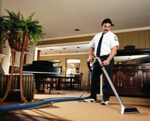 Carpet in Dallas home getting getting professionally cleaned.